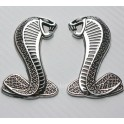 FORD MUSTANG SHELBY GT COBRA Metal Snake Badge Decals Bumper Fender Stickers SET PAIR